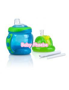 Nuby: Flip N' Sip Straw Cup With Handle 240ml/8oz Combo