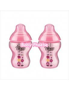 Tommee Tippee:Closer to Nature Decorated Pink Feeding Bottle 260ml/9oz (Twin Pack)