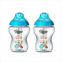 Tommee Tippee:Closer to Nature Decorated Blue Feeding Bottle 260ml/9oz (Twin Pack)