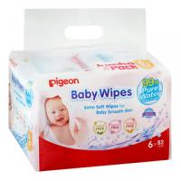 Pigeon Pure Water Baby Wipes 6x82's